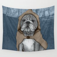 bulldog Wall Tapestries featuring English Bulldog in Stonehenge by Barruf