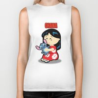 lilo and stitch Biker Tanks featuring Ohana Lilo and Stitch by Jasmine Victoria