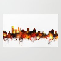 maryland Area & Throw Rugs featuring Baltimore Maryland Skyline by artPause