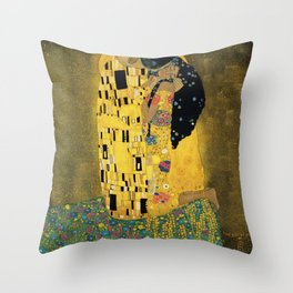Curly version of The Kiss by Klimt Throw Pillow