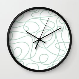 Doodle Line Art | Mint Green Lines on White Background Wall Clock