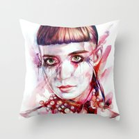 grimes Throw Pillows featuring grimes by beart24