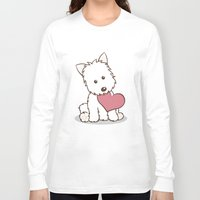 westie Long Sleeve T-shirts featuring Westie Dog with Love Illustration by Li Kim Goh