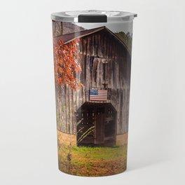 Rustic Barn in Autumn Travel Mug