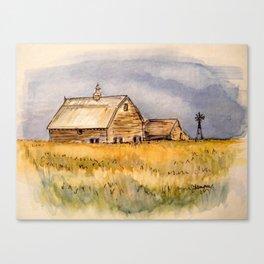 Barns and Windmill Canvas Print