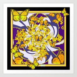 Modern Art Yellow Butterflies Purple Patterns Art Print