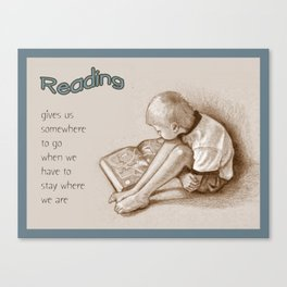 READING: Drawing of Small Boy with Book, Quote About Reading Canvas Print
