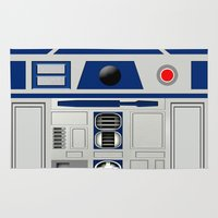 r2d2 Area & Throw Rugs featuring R2D2 Robot by Andrian Kembara