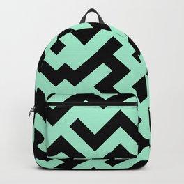 Black and Magic Mint Green Diagonal Labyrinth Backpack