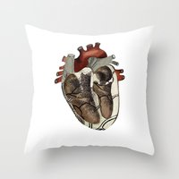 anatomical heart Throw Pillows featuring Anatomical Heart  by Whoosh