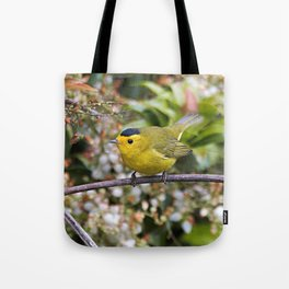 Cute Wilson's Warbler on the Grapevine Tote Bag