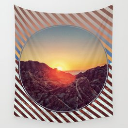 Peel Sunset -  brown graphic Wall Tapestry