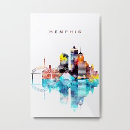Colorful Watercolor Memphis Skyline Metal Print