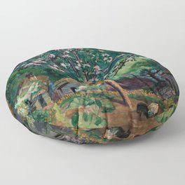 Apple Tree and Daffodils in Bloom alpine landscape painting by Nikolai Astrup Floor Pillow
