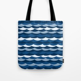 Classic Blue Wave Pattern Tote Bag