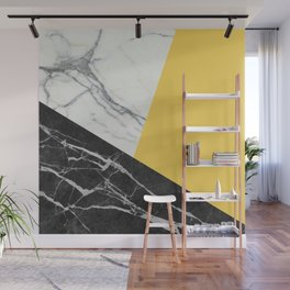 Black and White Marble with Pantone Primrose Yellow Wall Mural