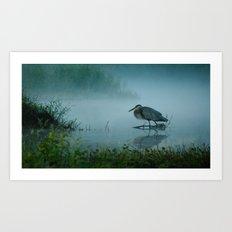 Blue Heron Misty Morning Art Print