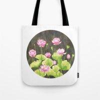 lotus flower Tote Bags featuring Lotus by Carla Adol