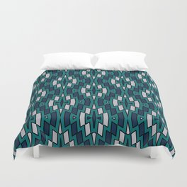 Tribal Diamond Pattern in Navy, Teal and Gray Duvet Cover