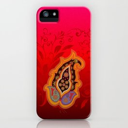 red jewel paisley border iPhone Case