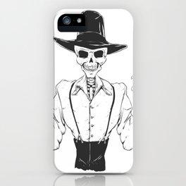 Gangster skull - grim  reaper cartoon - black and white iPhone Case
