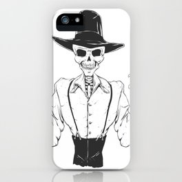 Gangster skull - grim  reaper cartoon - black and white iPhone Case
