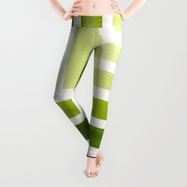 Sap Green Minimalist Inca Geometric Mid Century Modern Watercolor Pattern Maze Leggings