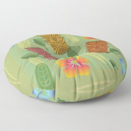 Bamboo Tiki Room Pattern Floor Pillow