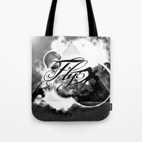 decal Tote Bags featuring fly away bw by haroulita