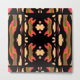 Fantasy Woods on Black,Creme,Orange, Pink,Green Metal Print