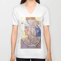 egyptian V-neck T-shirts featuring Egyptian Queen by Brian Raggatt