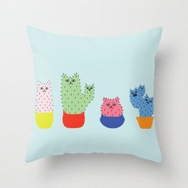 Catcus - Blue Theme Throw Pillow