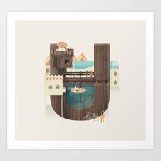 Resort Type - Letter U Art Print
