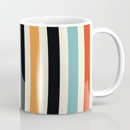 Raincore - Mid Century Modern Rainbow Retro Lines Abstract Pattern - Blue Yellow Green Red Black Coffee Mug