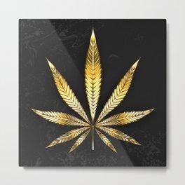 Gold Leaf Cannabis Metal Print
