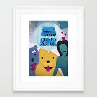 returns Framed Art Prints featuring Rawr Returns! by mrbiscuit