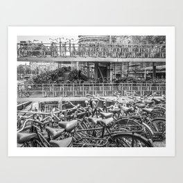 Sea of Bikes  Art Print