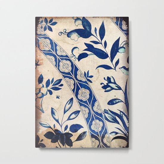Blue Oriental Vintage Tile 04 Metal Print