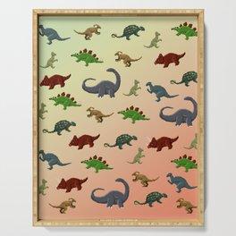 Herbivorous Dinosaurs Pixel Pattern Serving Tray