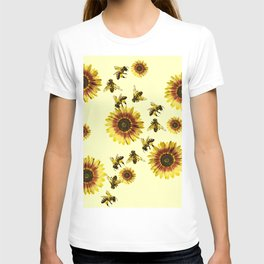 Yellow Sunflowers and Honey Bees Summer Pattern T-shirt