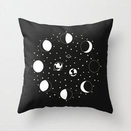 Wonder If - Moon Phase Illustration Throw Pillow