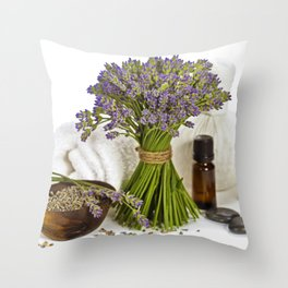 lavender spa Throw Pillow