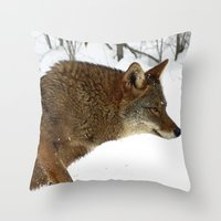 coyote Throw Pillows featuring Coyote by tracy-Me