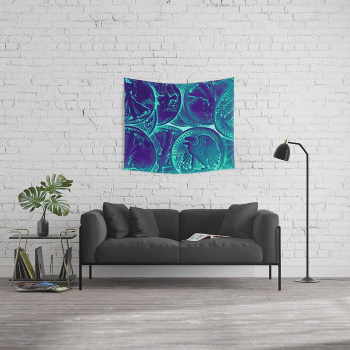 Vintage Coins Pop Art Wall Tapestry