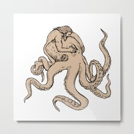 Hercules Fighting Giant Octopus Drawing Metal Print
