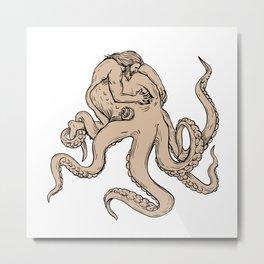 Hercules Fighting Giant Octopus Drawing Metal Print