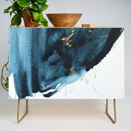 Sapphire and Gold Abstract Credenza