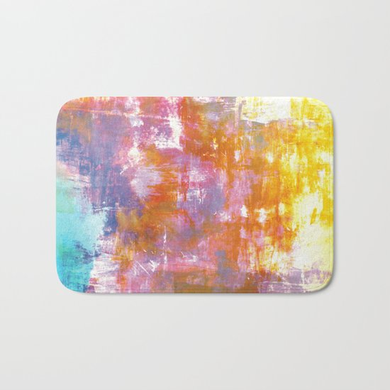 OFF THE GRID 3 Colorful Pastel Neon Purple Rust Yellow Abstract Watercolor Acrylic Textural Painting Bath Mat