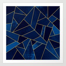 Blue stone with yellow lines Art Print