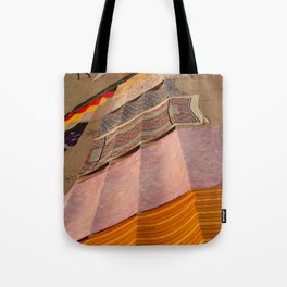 Saris Drying on the Steps Tote Bag